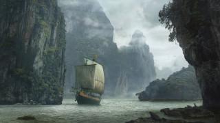 Landscape with ship, скалы, корабль, вода