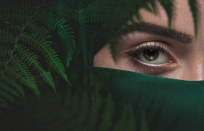 девушка, зеленый, глаз, папоротник, бровь