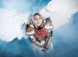 разное, cosplay , косплей, взгляд, фон, девушка, крылья, униформа