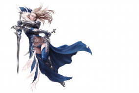 оружие, взгляд, фэнтази, мечи, фон, девушка, эльфийка