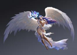 фэнтези, арт, ангел, крылья, Aurora, жезл