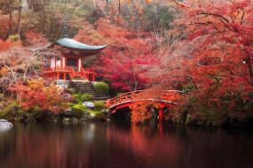 пагода, мост, озеро, осень, лес, ступени, камни