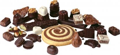 печенье, шоколад, конфеты, орехи