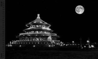 здание, ночь, луна