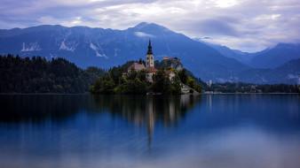 города, блед , словения, монастырь, горы, озеро