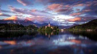 горы, закат, озеро