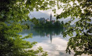 города, блед , словения, отражение, горы, озеро