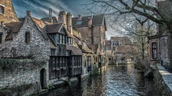 каменные, дома, канал, старинные