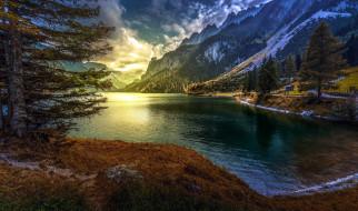 горы, озеро, тучи
