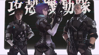 batou, kusanagi motoko, ghost in the shell, togusa