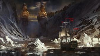 Red Flags, айсберги, льды, статуи, горы, фрегат, море, парусник, Jude Smith, корабль