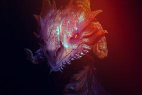 горящий глаз, чешуя, пасть, дракон, рога, злобный взгляд, в темноте, морда