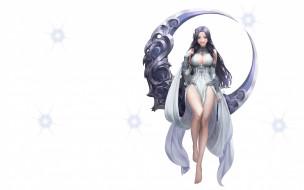 Illustrator, луна, League of Angels, фэнтези, Moon goddess, Daeho Cha, металл, арт