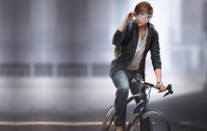 очки, велосипед, парень