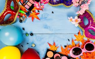 маски, концепции праздников, цветные шары, карнавал
