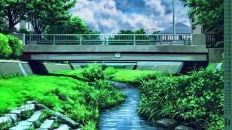 мост, растения, водоем, 2018, ступени