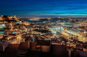 португалия, ночь, панорама, lisbon, лиссабон, огни, город