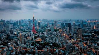 мегаполис, небоскребы, токио, tokyo tower, токийская башня, архитектура, япония
