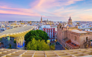 город, здания, андалусия, испания, севилья, закат