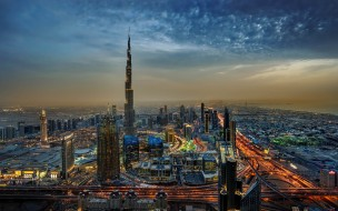 4к, вечерний город, дубай, городские пейзажи, оаэ, бурдж халифа, объединенные арабские эмираты