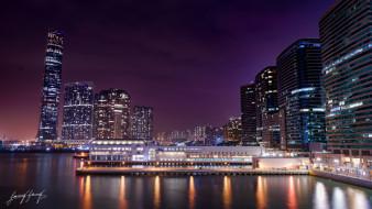 здание ночь, город, огни, панорама