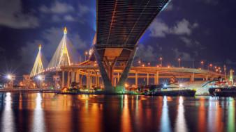 мост, река, огни