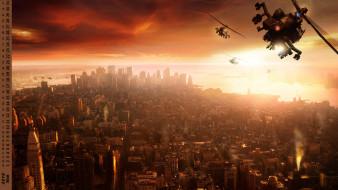 вертолет, город, здание