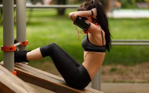 фон, спортзал, фитнес, девушка, взгляд