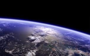 космос, земля, облака, планета, атмосфера