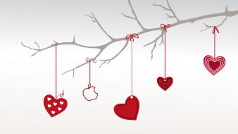 яблоко, сердечки, ветка