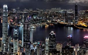 небоскребы, дома, здания, город, панорама, огни