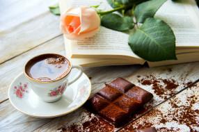 кофе, роза, книга, шоколад