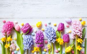 праздничные, пасха, тюльпаны, flowers, праздник, жёлтые, narcissus, candy, декор, wood, easter, гиацинты, нарциссы, цветы, eggs