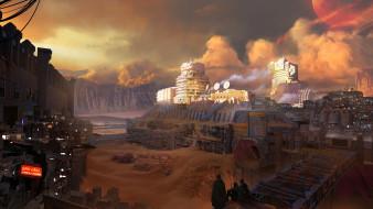 futuristic, sandstorm, planet, Desert, camp