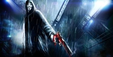 город, дождь, Анонимус, v for vendetta, арт, капюшон, оружие, пистолет, ночь, Anonymous