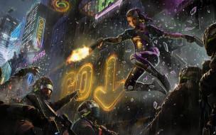 девушка, очки, ночь, вывеска, дождь, город, пистолет, фантастика, полиция, cyberpunk, шлем, арт, спецназ