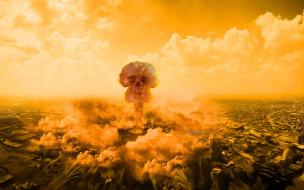 ядерный взрыв, катастрофа, апокалипсис, ударная волна, череп, адская ухмылка, уничтожение, конец света