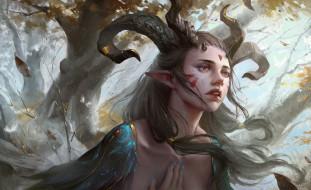 trees, tattoos, magic, face, fantasy art, Elf, leaves, painting, pointed ears, artwork, Yuanbin Hu, feathers, horns, fantasy