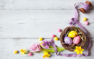 праздничные, пасха, flowers, eggs, праздник, easter, wood, декор, candy