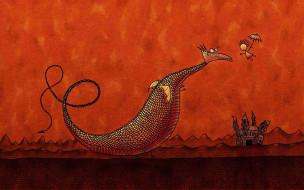 рисованное, vladstudio, человек, очки, дракон, зонт, полет, замок