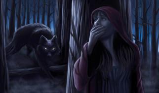 лес, волк, девушка