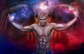 мужчина, фон, крылья