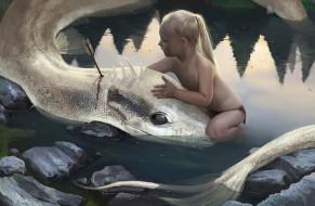 девочка, вода, дракон, стрела, слеза