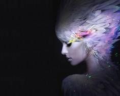 девушка, фатастика, перья, профиль, черный фон, арт