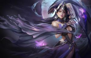 девушка, луна, воин, ночь, fantasy, магия, арт, бабочкa