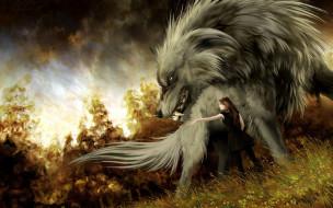 Anna Podedworna, Hound, девушка, арт, волк