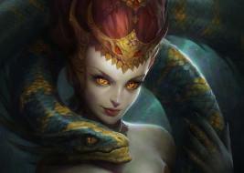фэнтези, красавицы и чудовища, змея, взгляд, девушка, арт