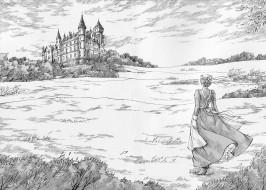 горничная, рисунок, девушка, замок