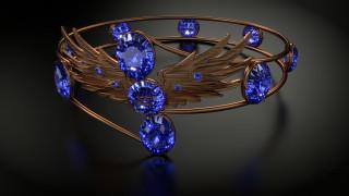 корона, отражение, крылья, украшение, игра света, металл, блеск камней, сапфиры, стиль, темный фон