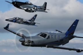 небо, авиация, P-51D, полет, L-39C, SOCATA TBM
